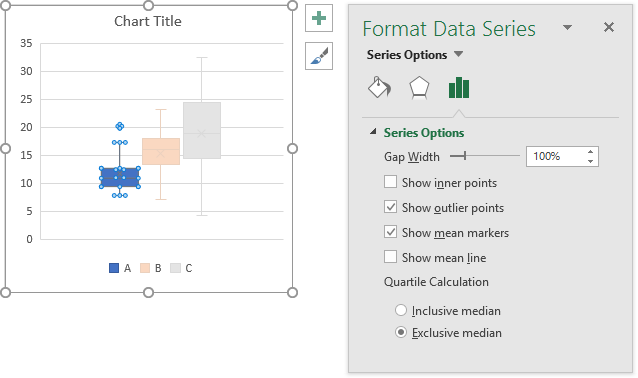 Format Series Task Pane for Microsoft Box Plot