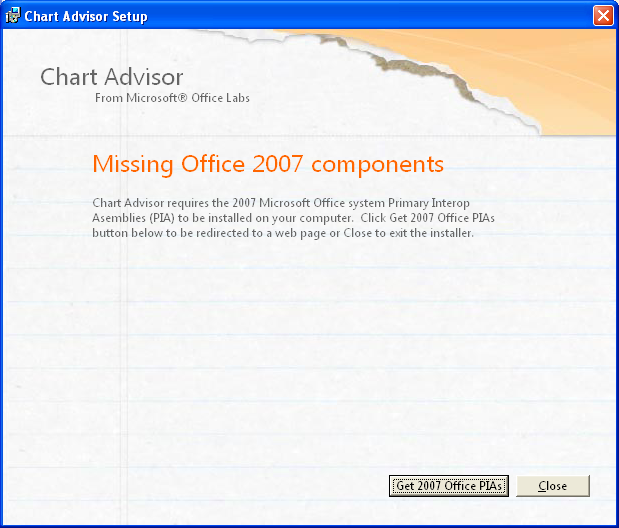 Chart Advisor Setup Failure