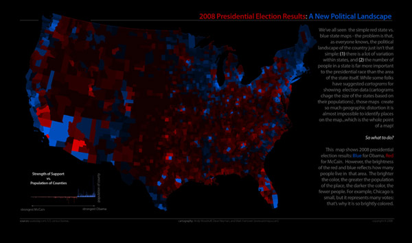 Map of 2008 Presidential Election Results, Shaded by Population