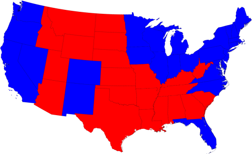 Map of 2008 Presidential Election Results, Scaled to Area