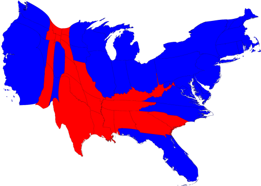 Map of 2008 Presidential Election Results, Scaled to Population