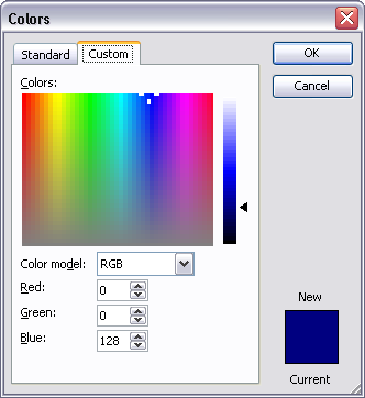Tools - Options - Custom Colors