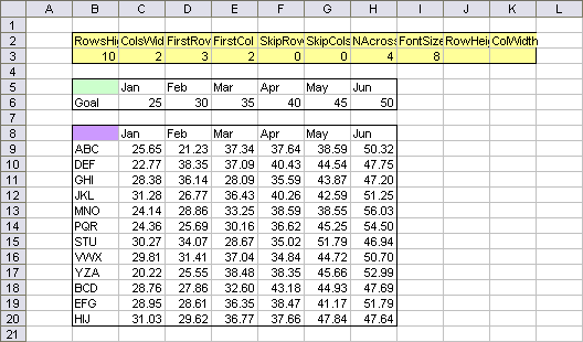 Creating Charts In A Grid Peltier Tech Blog. The Yellow Range Is Named Settings B2k3 In This Exle But It Can Be Any 2row By 10 Column With Items Order And Contains Many Of. Worksheet. 10 Column Worksheet Exle Problems At Clickcart.co