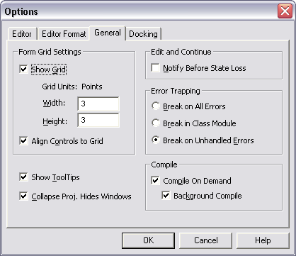 General Options Dialog