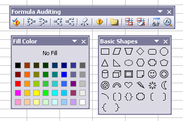 Floating UI elements in Excel 2003