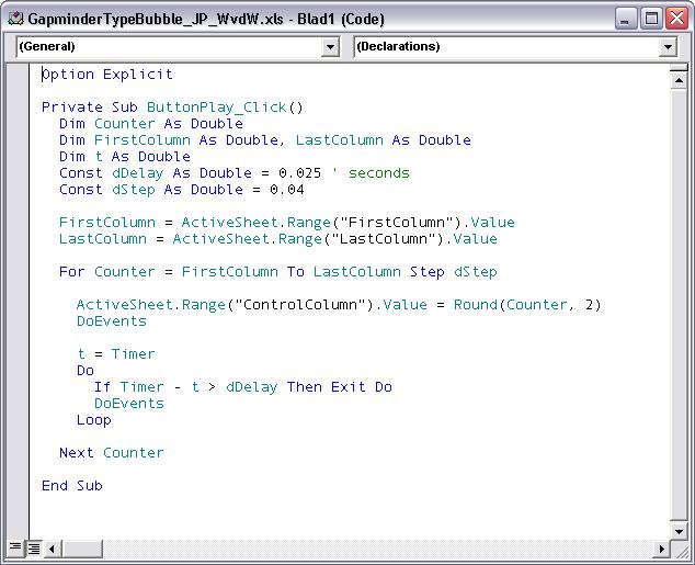 Gapminder-in-Excel VBA Code