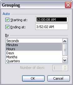 Excel's Grouping Dialog