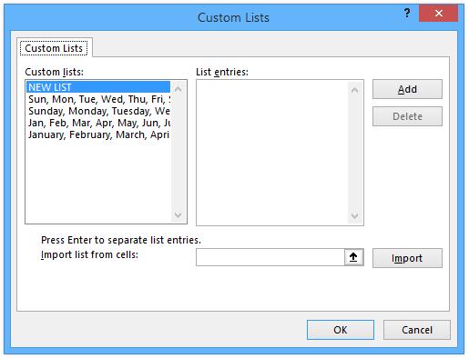 Custom Lists Dialog