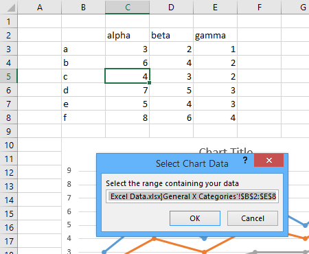 Create New Chart - Select Data