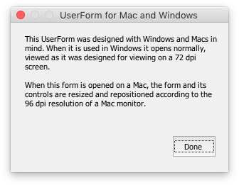 UserForm for Mac and Windows opened on a Mac