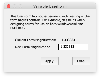 Variable UserForm at 133% on a Mac