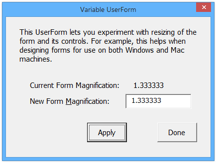Variable UserForm at 133% in Windows