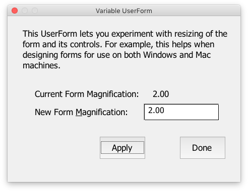 Designing UserForms for Mac and Windows - Peltier Tech Blog