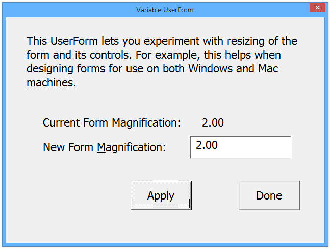 Variable UserForm at 200% in Windows