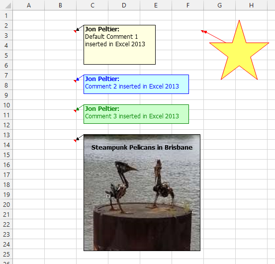 Excel 2013 Comment Changed to a Star
