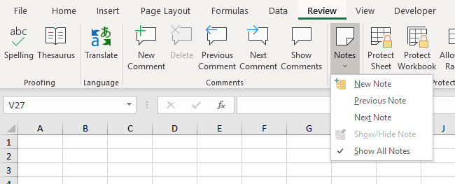 Review Tab with Notes Controls Visible in Excel 2016 Ribbon