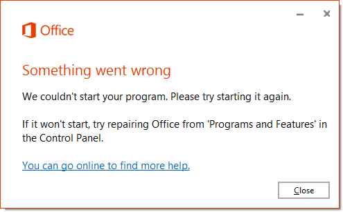 Excel Error Message - Repair