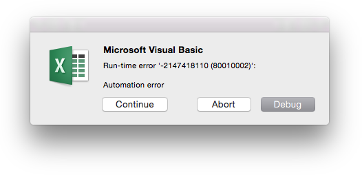 Excel Error Message - Automation Error