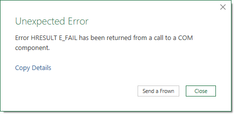 Excel Error Message - Unexpected Error