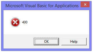 Excel Error Message - 400