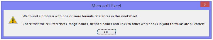 Excel Error Message - Formula Error