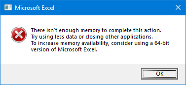 Excel Error Message - Memory Error
