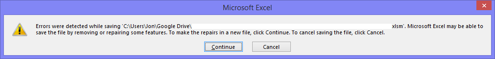 Excel Error Message - Saving Problem
