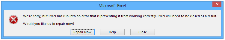 Excel Error Message - Repair?