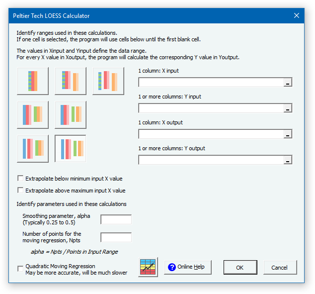 Peltier Tech LOESS Calculator Dialog