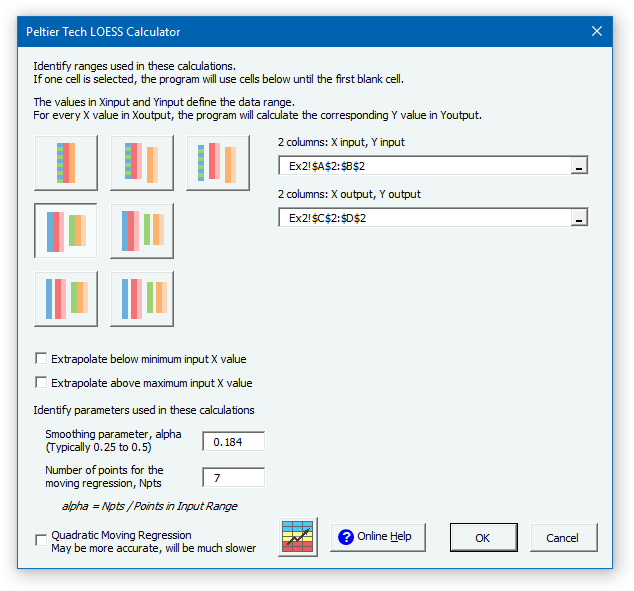 LOESS Example 3 Dialog