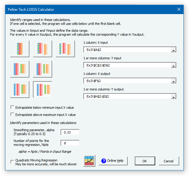 LOESS Example 4 Dialog