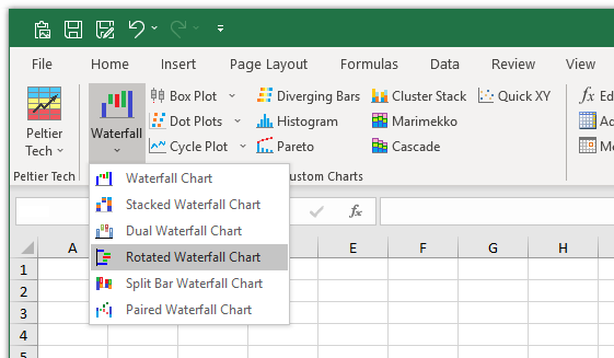 Rotated Waterfall Chart Item on the Waterfall Dropdown in the Peltier Tech Ribbon