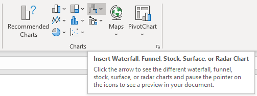 Ribbon > Insert tab > Charts > Waterfall icon