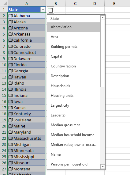 List of Rich Data Fields for the Geography Data Type