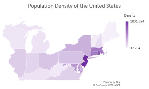 Population Density of a Portion of the United States