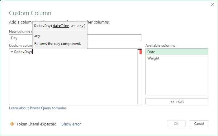Editing a Formula in Custom Column Dialog