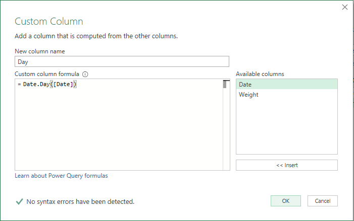 Finished with Custom Column Dialog