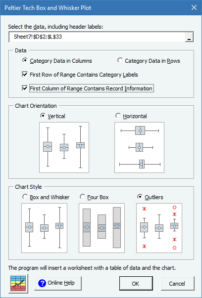 Peltier Tech Charts for Excel Box Plot Dialog