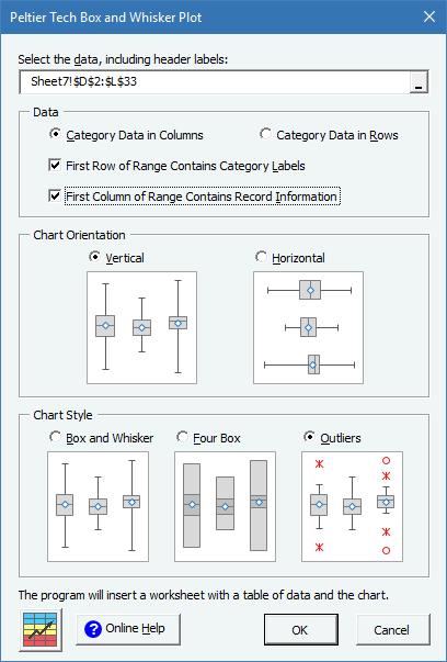 Peltier Tech Charts for Excel Box Plot Dialog