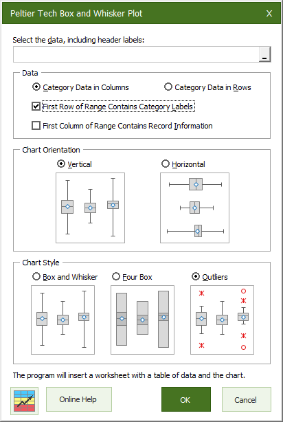 Box Plot Dialog from Peltier Tech Charts for Excel