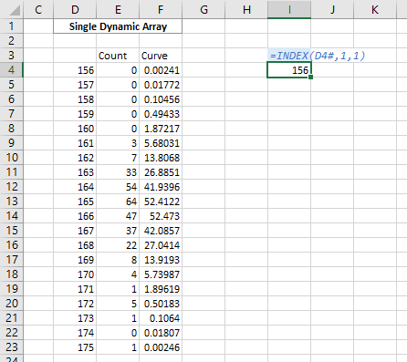 Referencing one cell of the Dynamic Array
